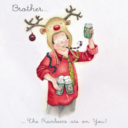 Berni Parker Designs Brother Christmas Card - The Rainbeers are on you