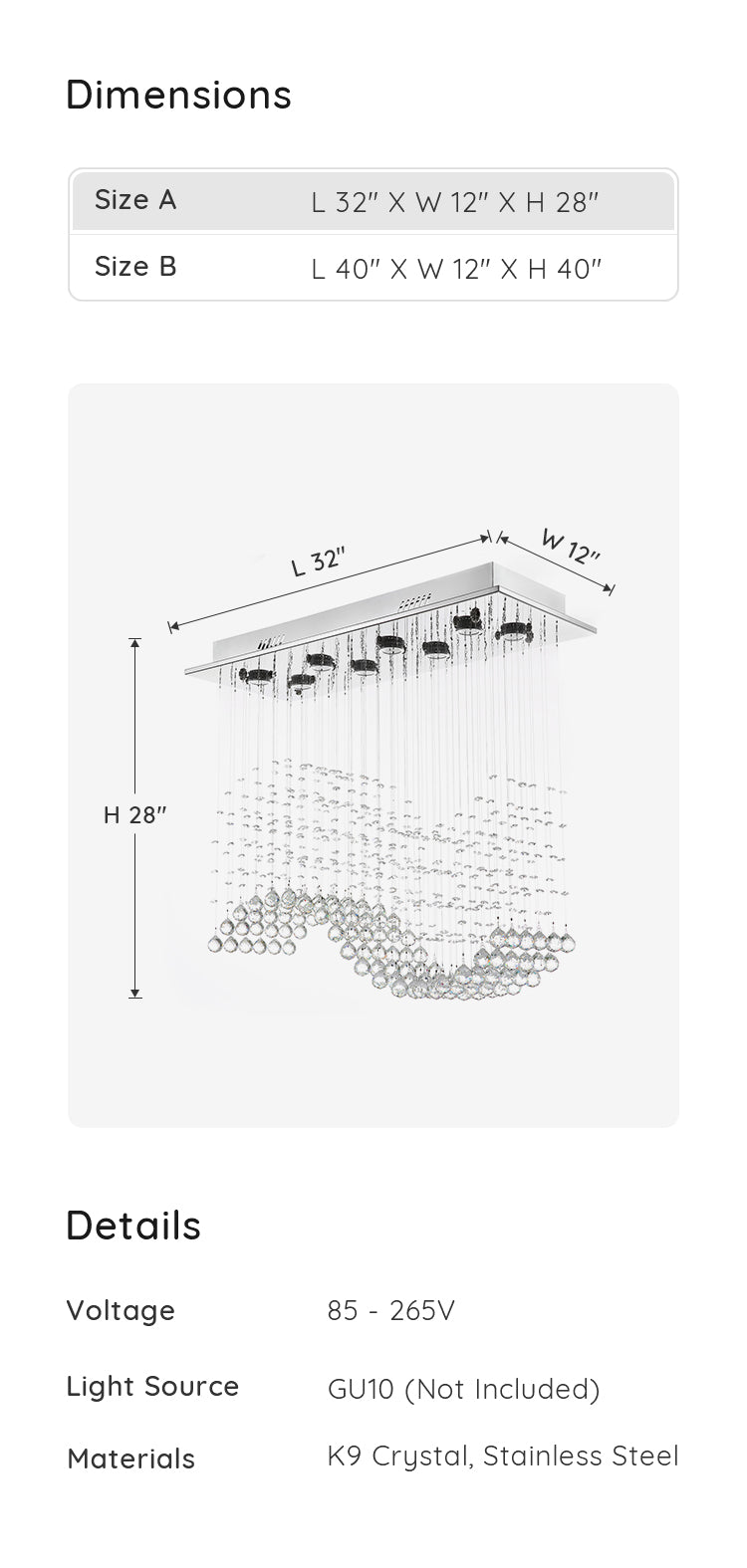 Rectangular Wave Raindrop Crystal Chandelier dimension and parameters