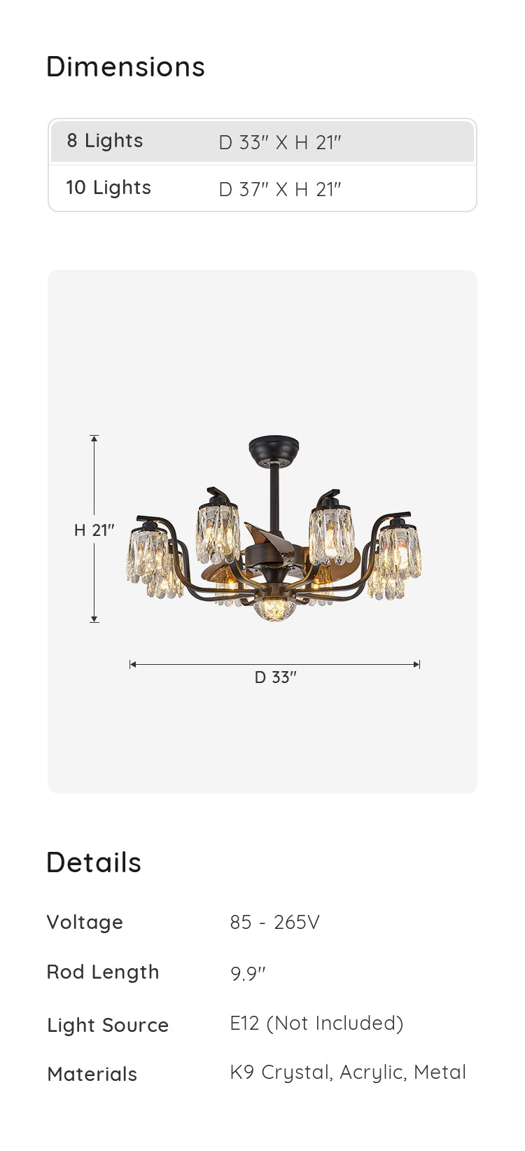 Crystal Chandelier Ceiling Fan Industrial and Farmhouse Style