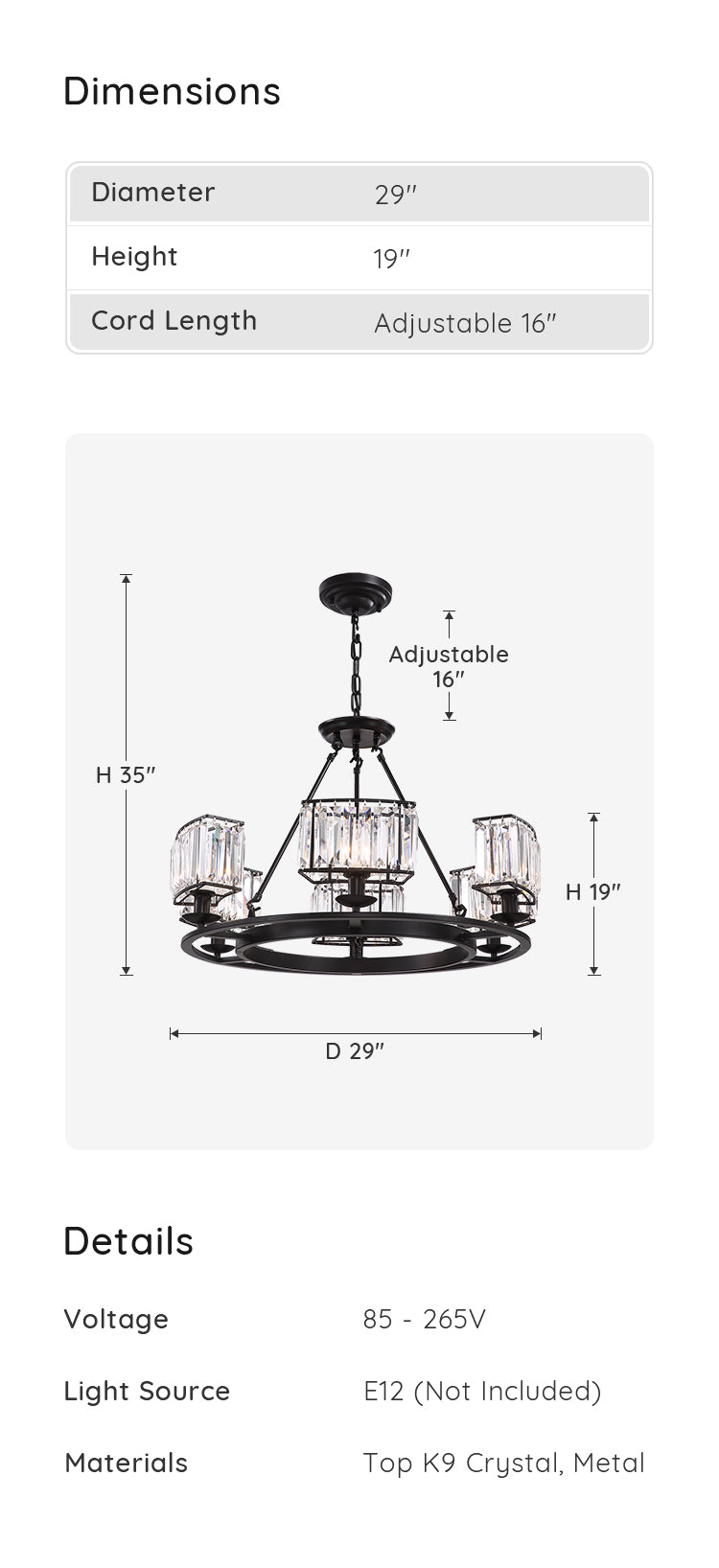 Farmhouse Round Crystal Chandelier Black dimension and parameters