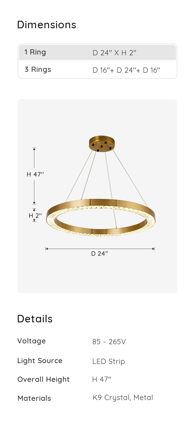 Crystal Gold Ring Pendant Light, 1 Ring dimensions & parameters