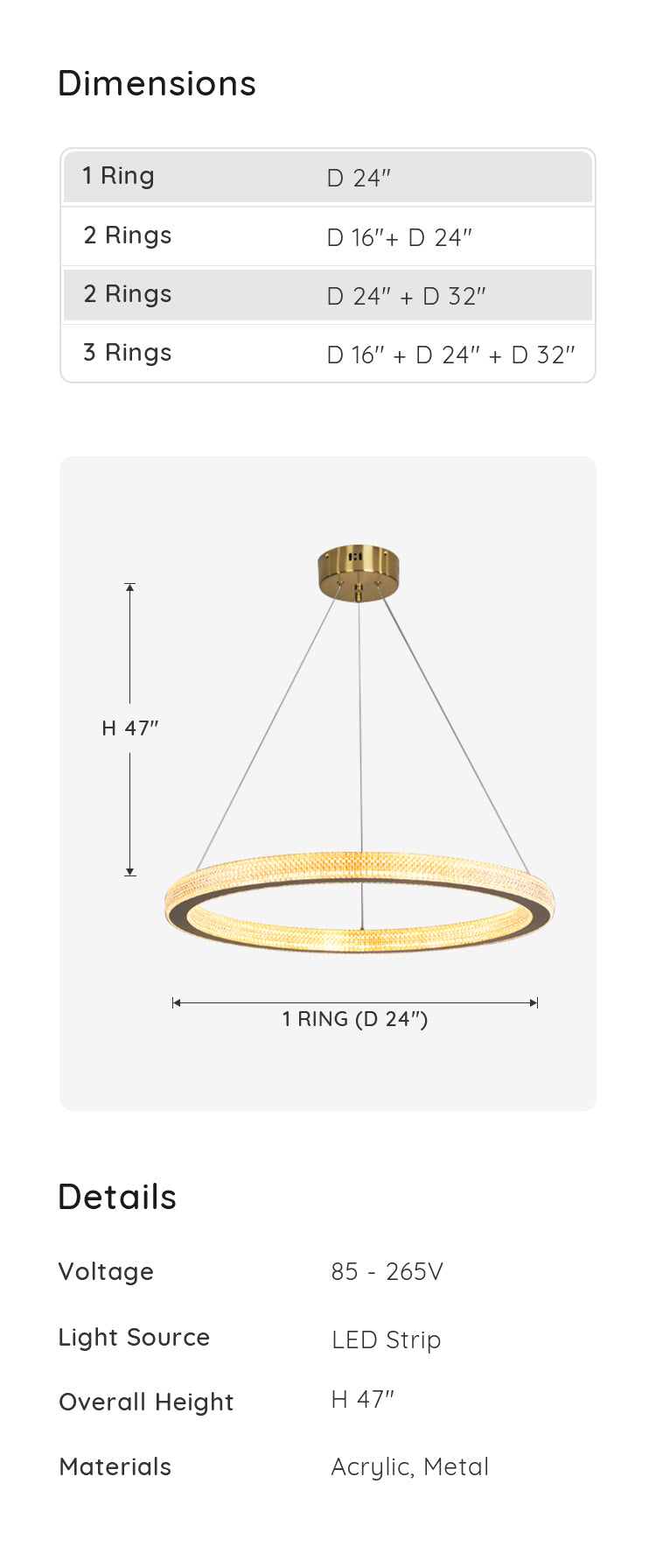 Ring Chandelier Hanging Suspension, 1 Ring dimension & parameters