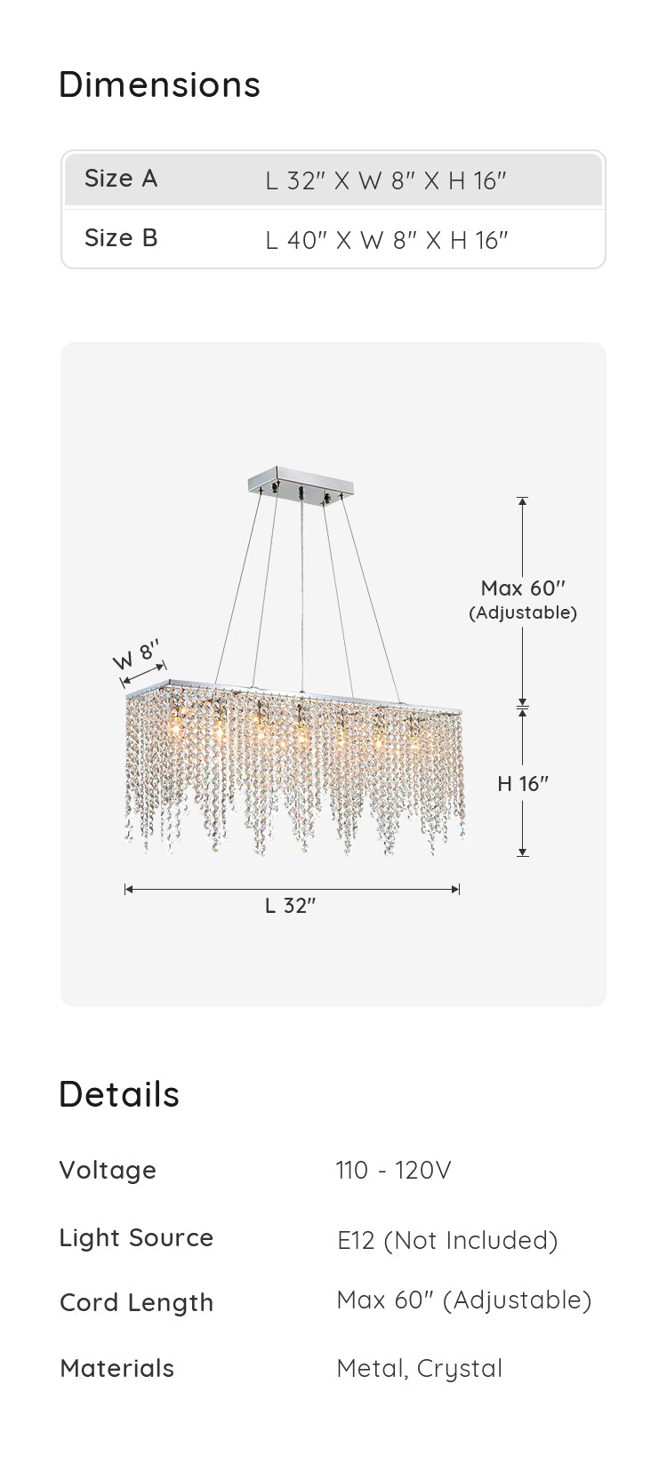 Contemporary Linear Rectangular Crystal Chandelier dimensions & parameters