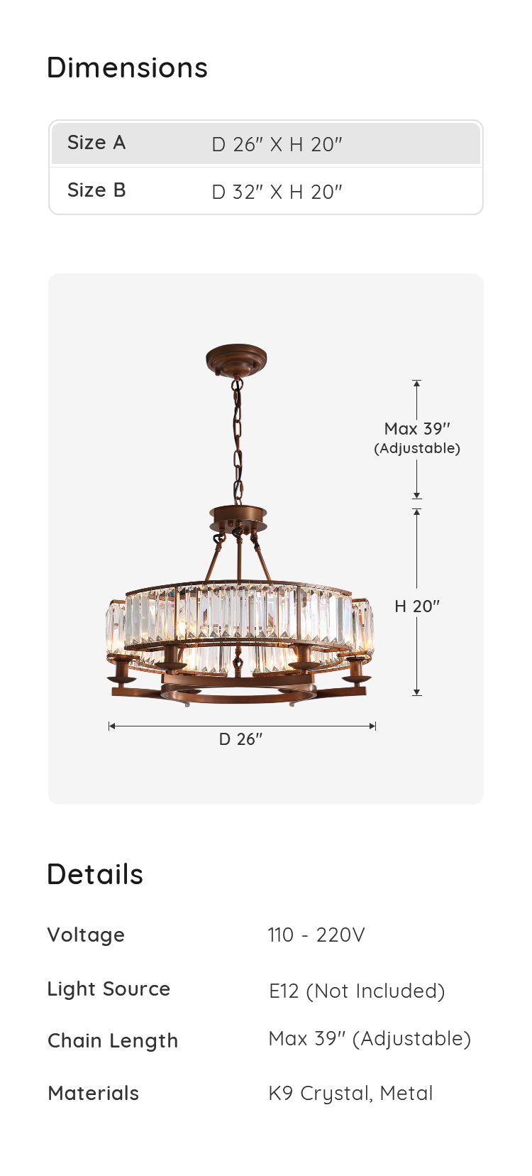 Industrial Farmhouse Crystal Chandelier dimensions & parameters