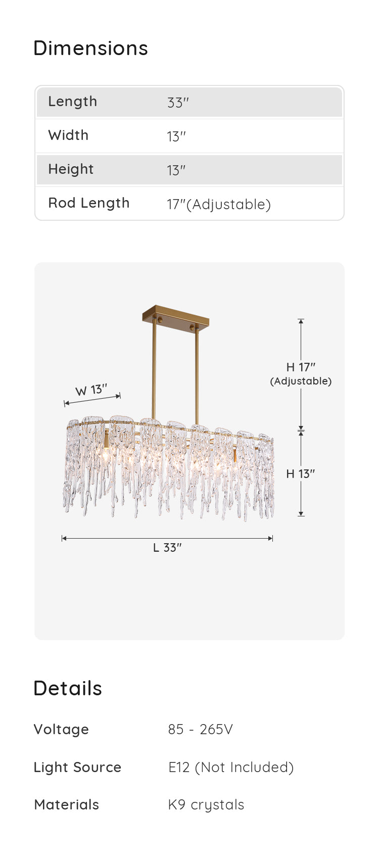 Luxury Gold Metal Frame Glass Chandelier dimensions & parameters