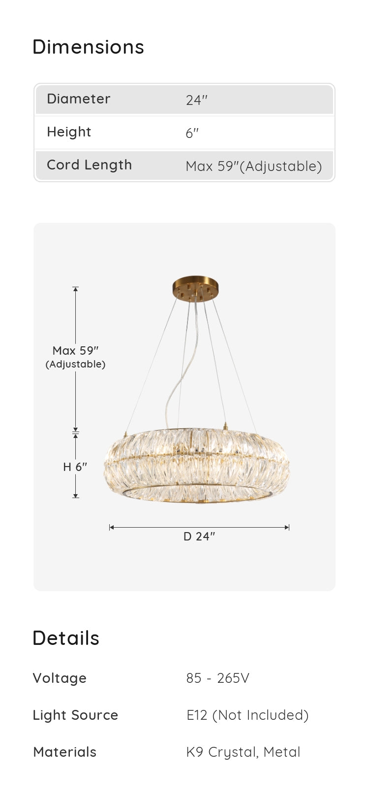 Crystal Pendant Light with Pineapple Shaped dimensions & parameters