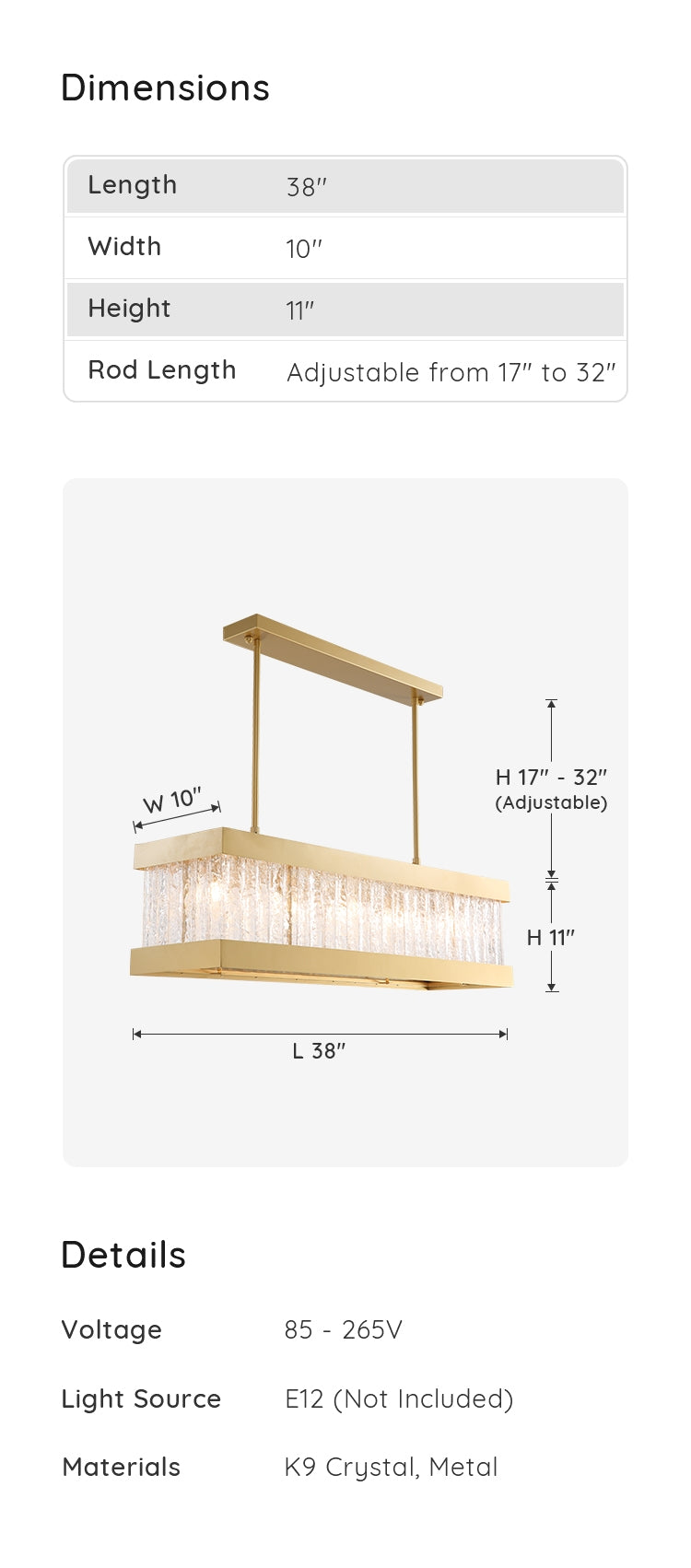 Rectangle Crystal Chandelier dimensions & parameters