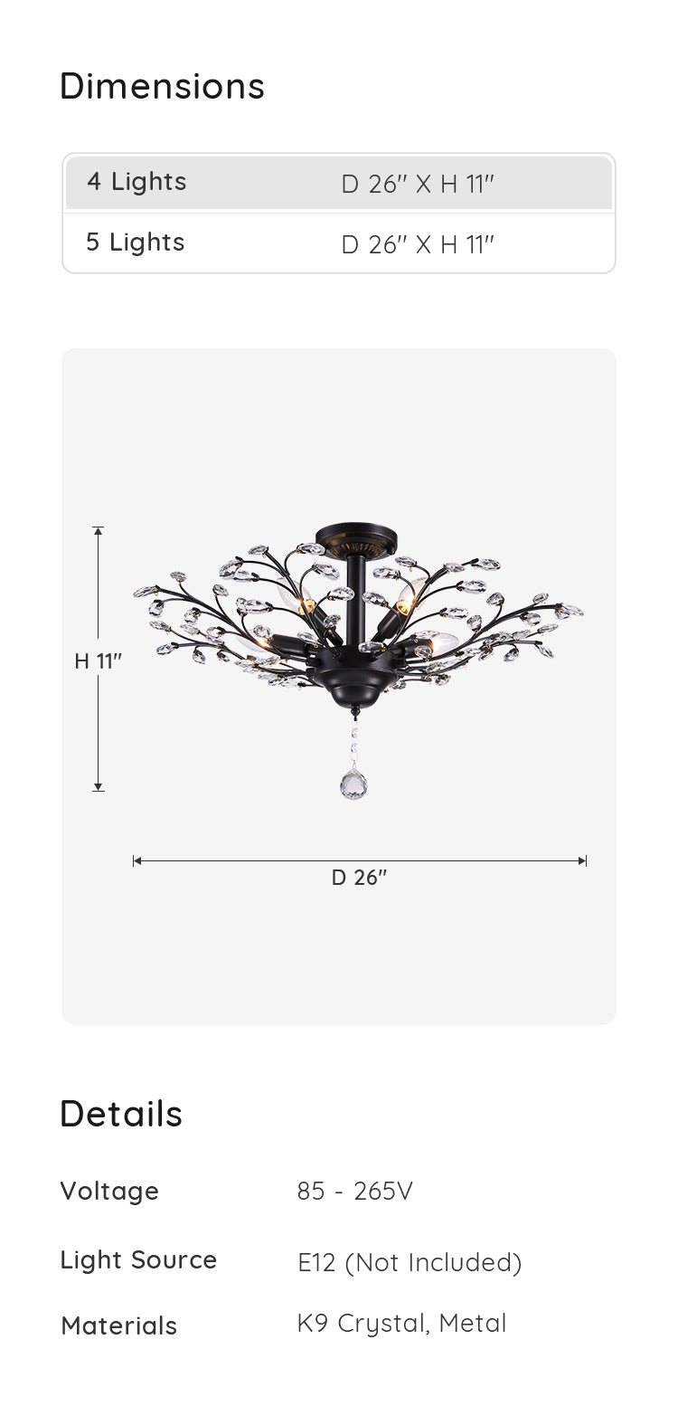 Crystal Branching Ceiling Light dimensions & parameters