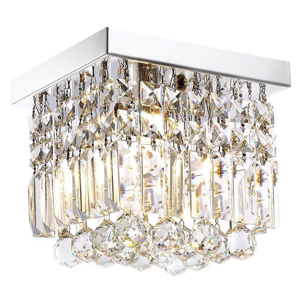 Mini Square Flush Mount Crystal Chandelier