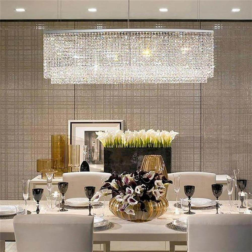 Contemporary Oval Rectangle Crystal Chandelier