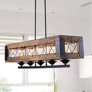 Wooden Rectangular Chandelier with Glass Shades