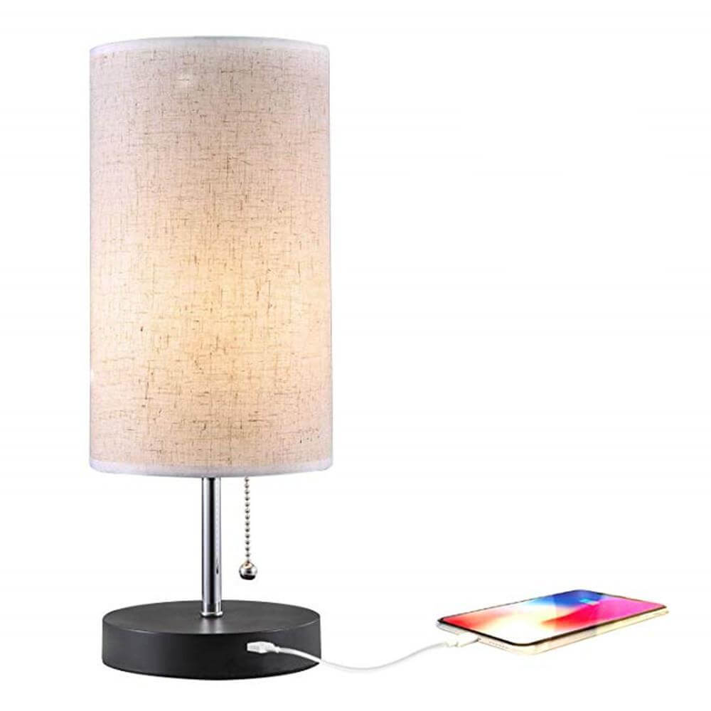 Circular Rustic Table Lamp with USB Charging Ports