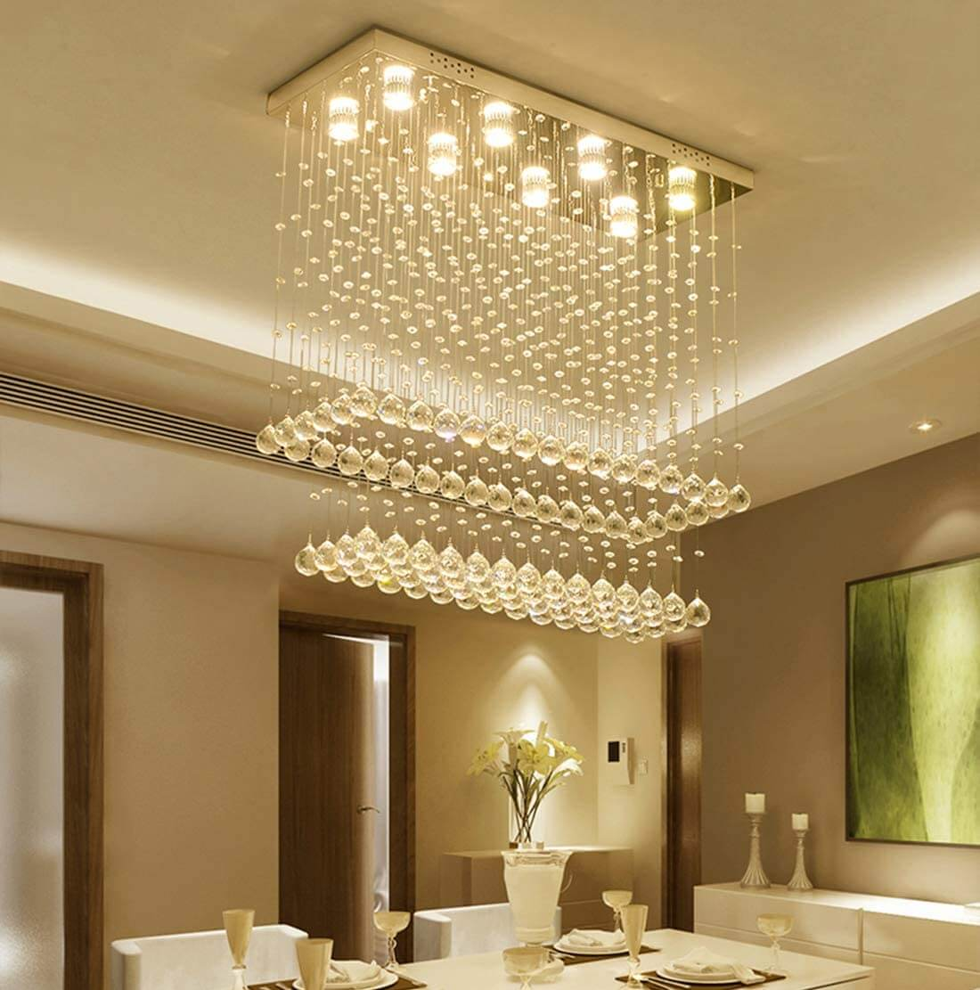 Modern Rectangular Raindrop Crystal Chandelier