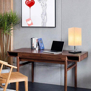 Large Rustic Table Lamp with Two USB Charging Ports