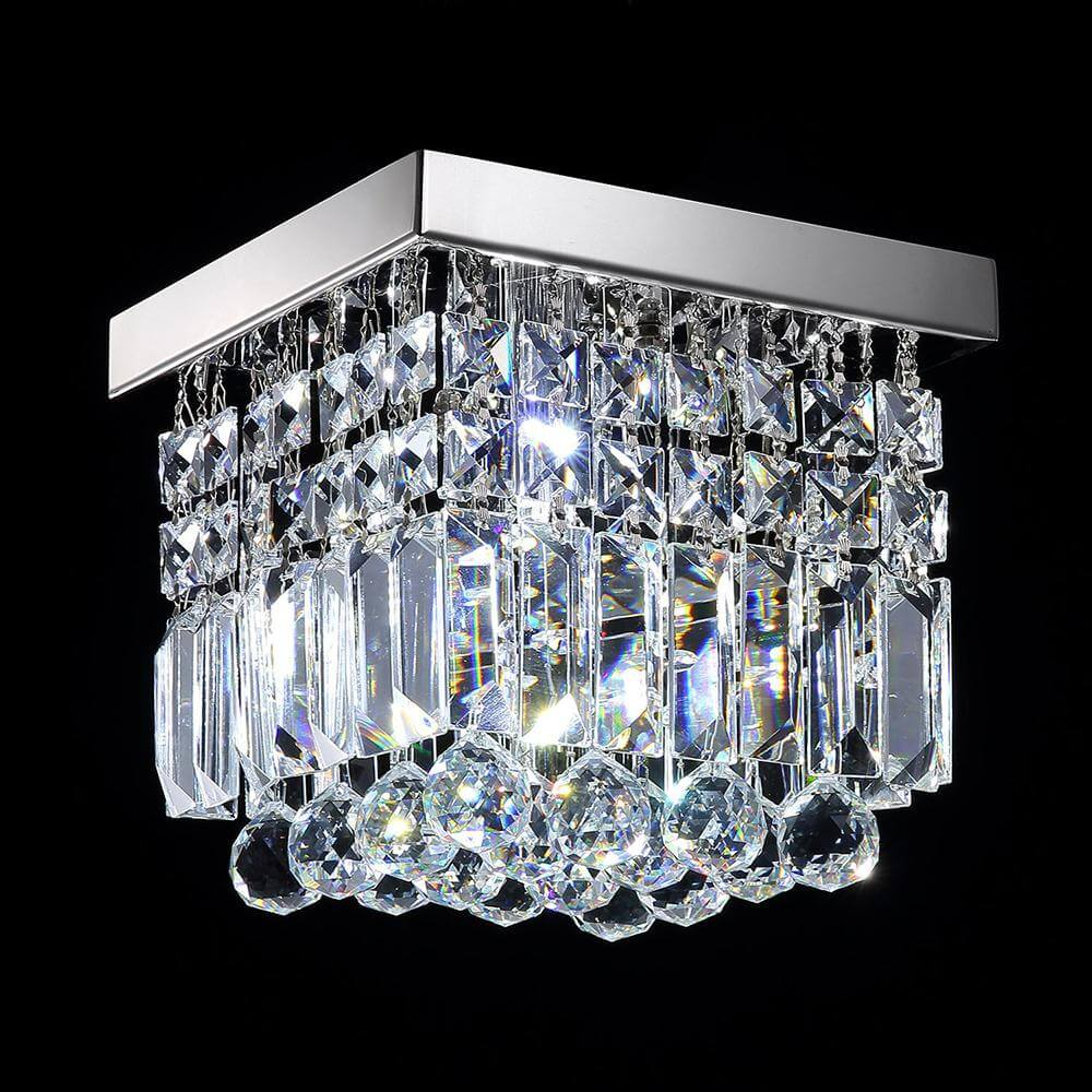 Mini Square Flush Mount Lighting Crystal Chandelier