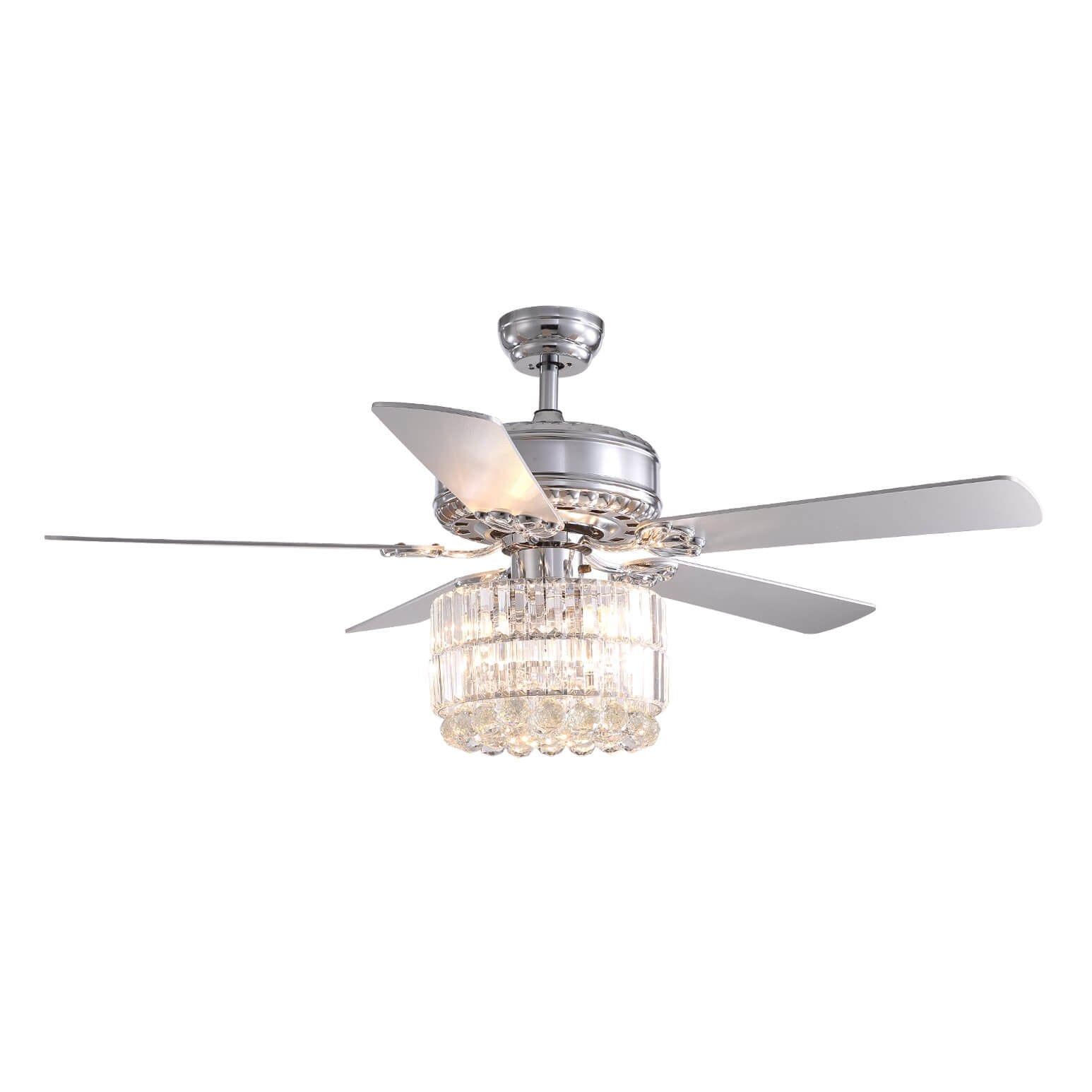 Reversible  Crystal Ceiling Fan with Wood Blades
