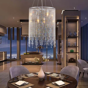 Linear Round Crystal Chandelier