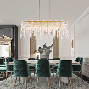 Luxury Gold Metal Frame Glass Chandelier