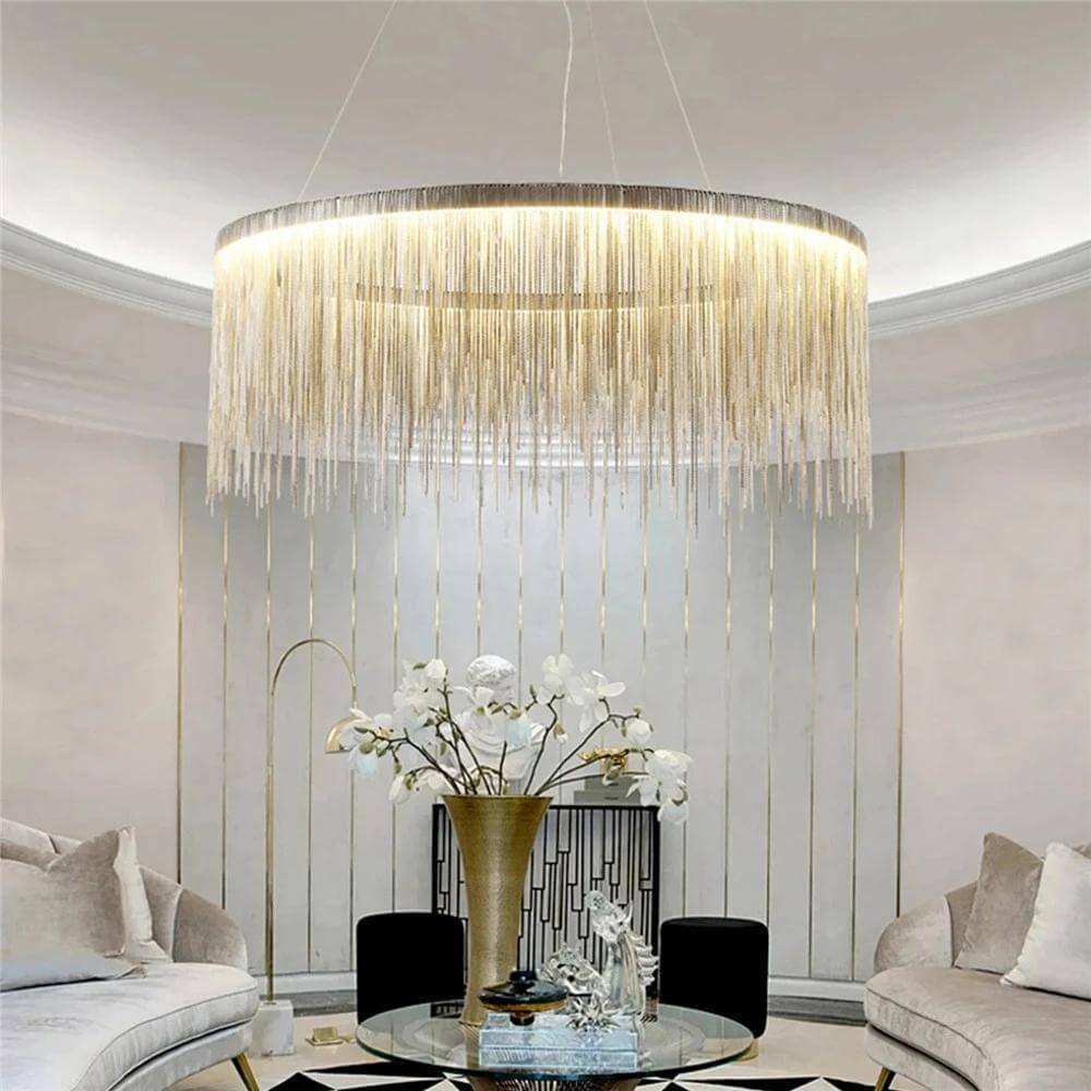 Contemporary Aluminum Tassel Linear Chandelier