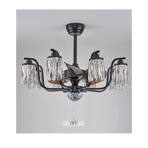 Hanging Round Crystal Chandelier Ceiling Fan