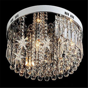 Crystal Raindrop Chandelier With Round Star