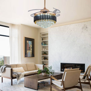 Dimmable Fandelier with Crystal Lights and Retractable Blades