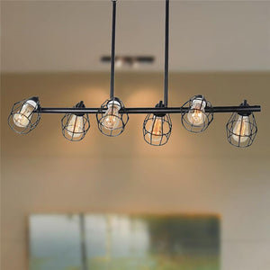 Linear Industrial Chandelier with Metal Wire Cage