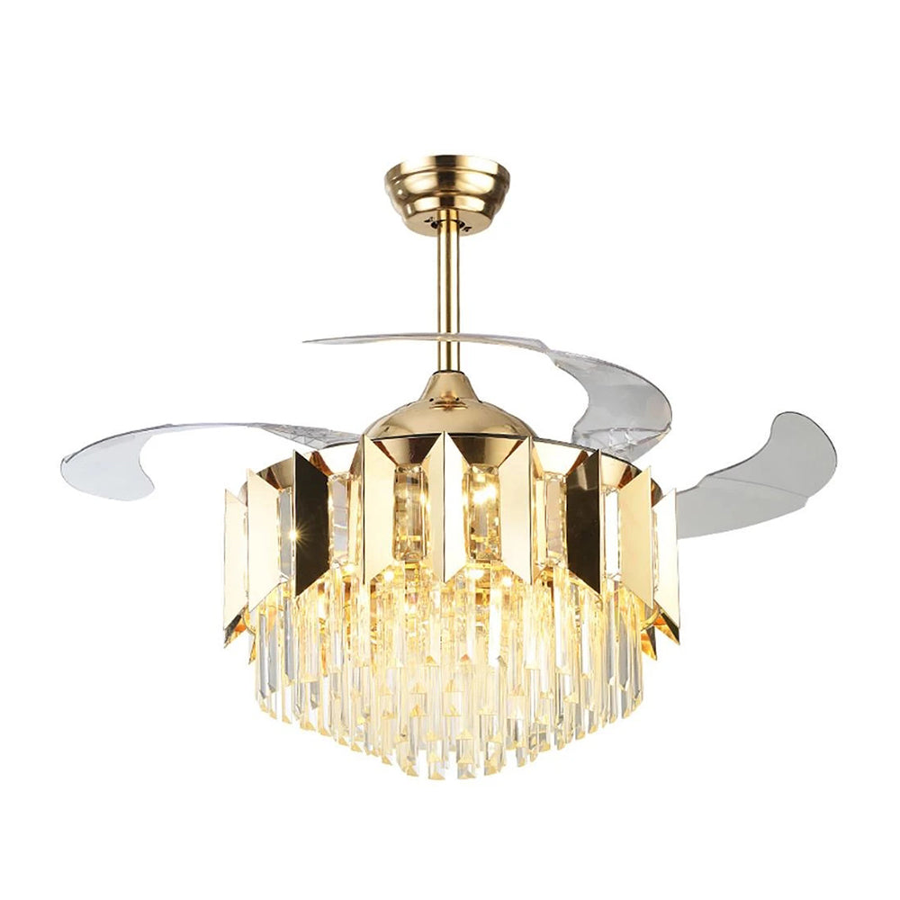 Crystal Chandelier With Gold Ceiling Fan