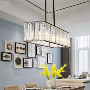 Rectangular Vintage Crystal Chandelier