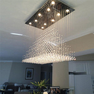 Raindrop Pyramid  Crystal Ceiling Light