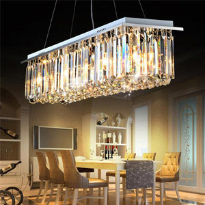 Rectangular  Crystal Chandelier with Triangle Bars