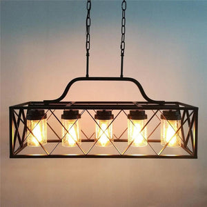 Chandelier with Glass Shade Rectangular Metal Cage