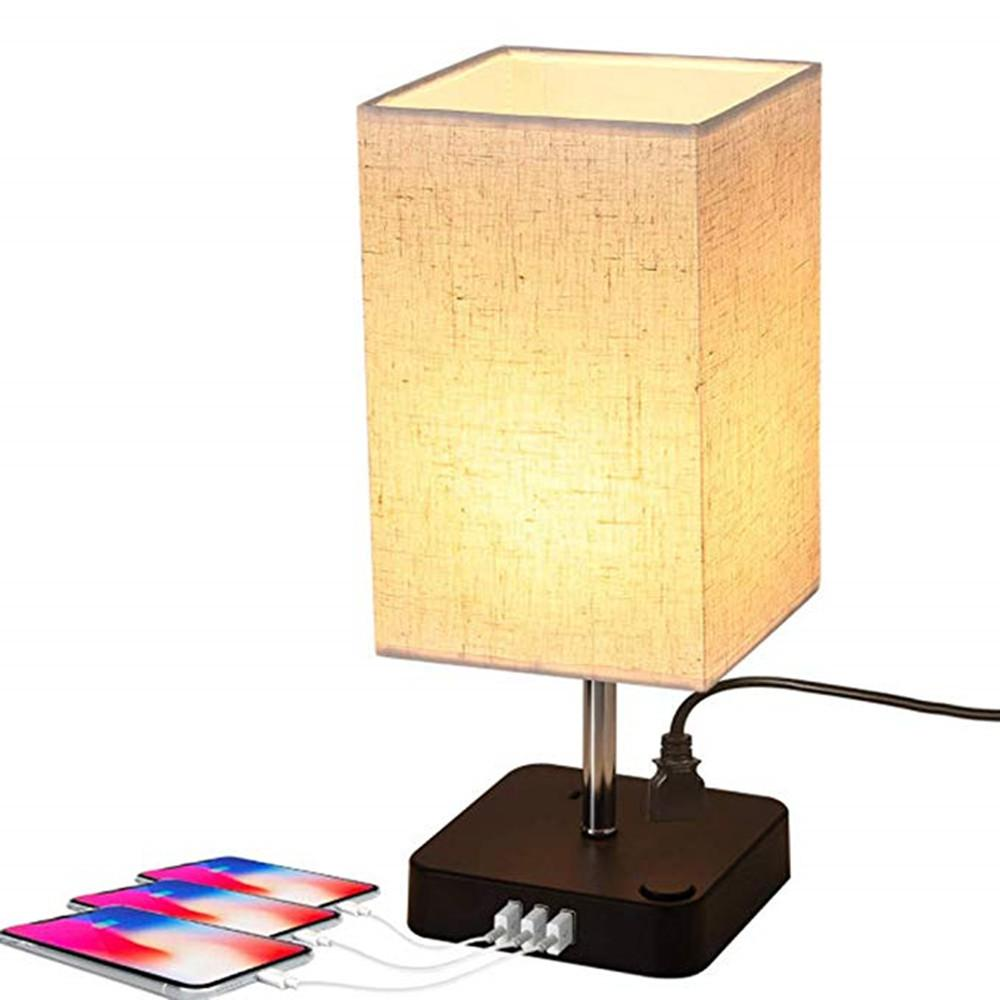 Table Lamp with Two AC Outlet & USB Charging Ports