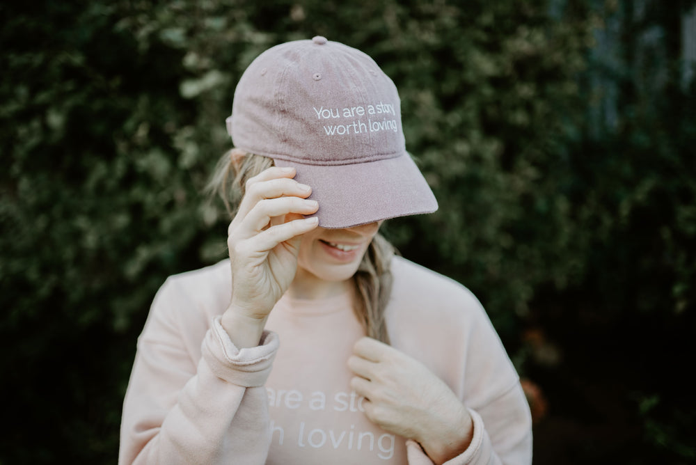 You are a Story Worth Loving Baseball Cap. Comfort Colors vineyard Hat. Grace Presley