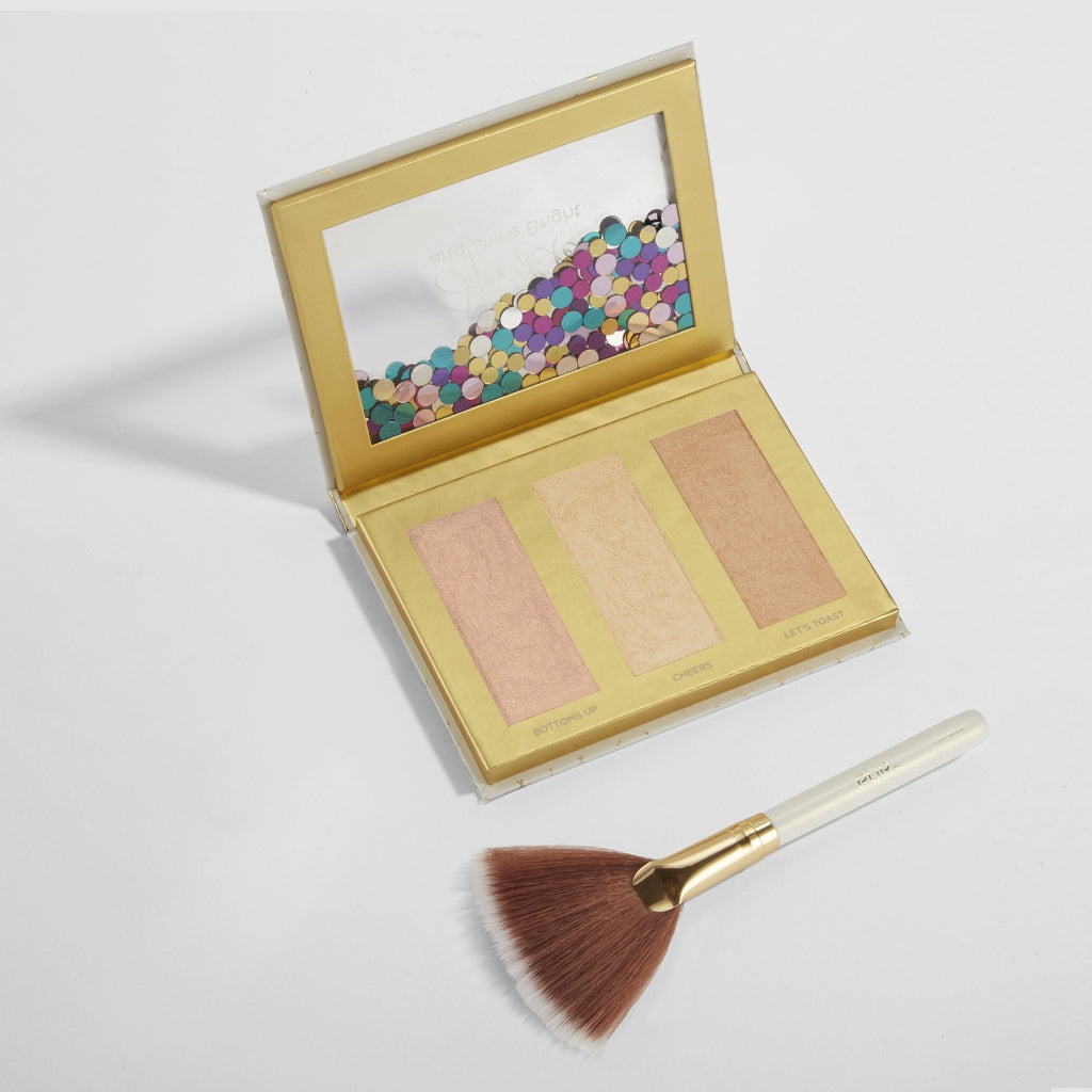 Sparkle And Shine Bright Limited Edition Sweet 16 Travel Highlighter Palette and Fan Brush