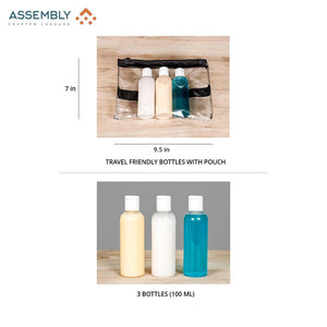 Travel friendly bottles with pouch