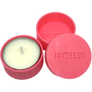 Tea light candle holder ( twin pack - same colour ) with 4 tea light candles