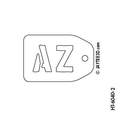 Medium Horizontal Tag - 2 Initials