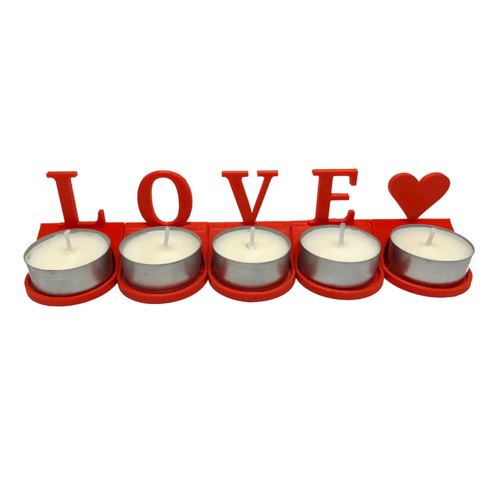 LOVE♥ 5 piece tea light candle holder with 15 tea light candles