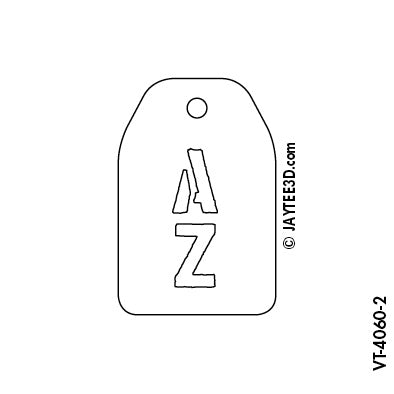 Medium Vertical Tag - 2 Initials