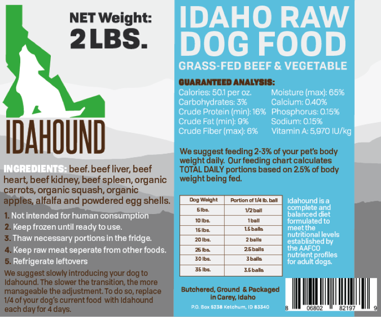 Beef & Vegetable Raw Dog Food (2 lbs.)