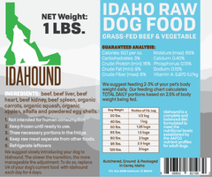Beef & Vegetable Raw Dog Food (1 lb.)