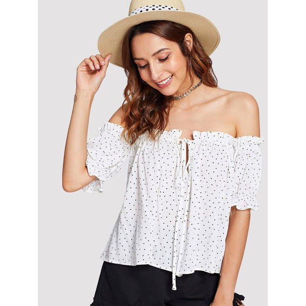 WHITE OFF SHOULDER POLKA DOT BLOUSE