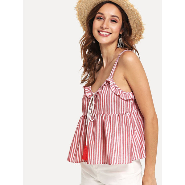 STRIPED TASSEL DETAIL CROPPED CAMI TOP