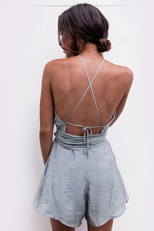 BACKLESS LACE UP WAIST PLAYSUIT