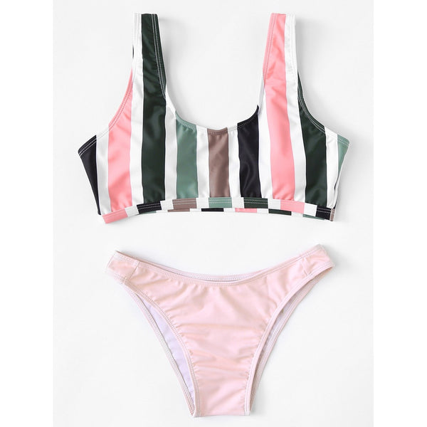 PINK STRIPED BIKINI SET