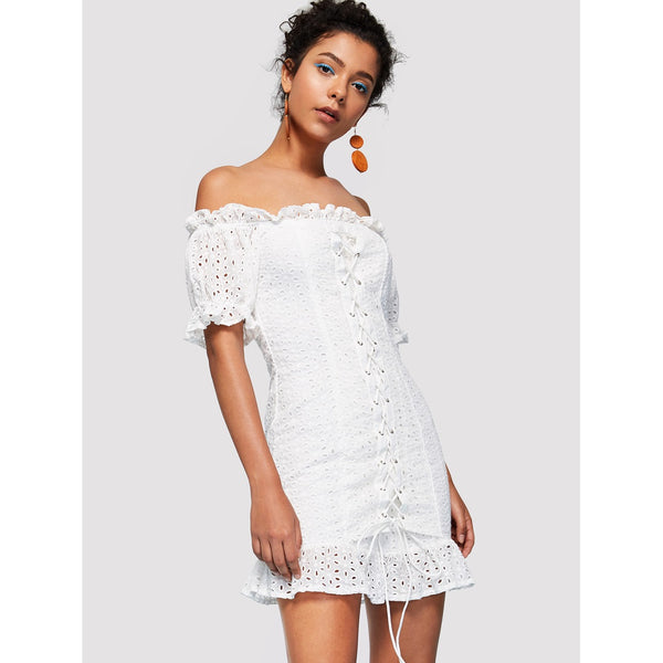 WHITE OFF SHOULDER BOHO DRESS