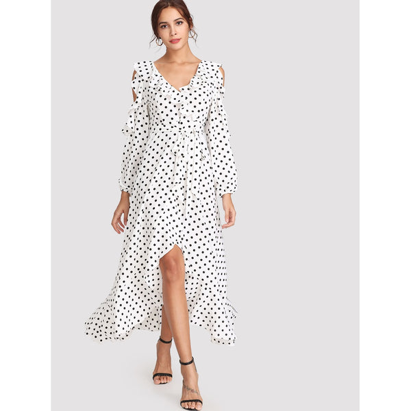 ASYMMETRICAL POLKA DOT RUFFLE DRESS