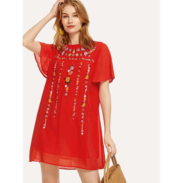 FLORAL EMBROIDERED TUNIC DRESS