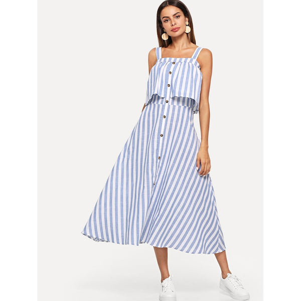 BLUE WHITE STRIPED BUTTON FRONT DRESS